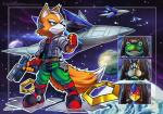 amphibian anthro arwing avian bird black_nose boots brown_fur canid canine clothing dipstick_tail falco_lombardi fingerless_gloves footwear fox fox_mccloud frog fur gloves group gun handgun jacket knightofgames lagomorph male mammal multicolored_tail nintendo peppy_hare planet rabbit ranged_weapon scarf slippy_toad space star_fox video_games weapon white_fur