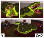 ambiguous_gender anthro bed biceps claws comic danza duo fangs feral forked_tongue greenwing long_tongue male muscles nude on_bed open_mouth reptile saliva scales scalie size_difference snake teeth tongue tongue_out vore   Rating: Questionable  Score: 10  User: Peekaboo  Date: January 27, 2014