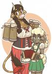 2017 2_fingers 4_fingers accordion alcohol anthro arm_tuft beer beverage big_breasts biped blush blush_sticker bodice bovine bow braided_hair breast_size_difference breasts brown_eyes brown_fur brown_hooves brown_horn brown_tail caprine chest_tuft clothed clothing cup curved_horn digital_drawing_(artwork) digital_media_(artwork) dirndl dress duo female fluffy fluffy_tail foam front_view frown fur green_clothing hair half-closed_eyes head_tuft hi_res holding_cup holding_musical_instrument holding_object hooved_fingers horn inner_ear_fluff lacing lederhosen long_tail looking_away mammal mary_(slightlysimian) minotaur mismatched_ears molly_(slightlysimian) multicolored_fur musical_instrument oktoberfest orange_background outline pigtails pink_nose ponytail portrait red_clothing ribbons sheep short_tail simple_background size_difference skirt slightlysimian small_breasts small_waist smile spots spotted_fur spotted_tail standing tail_bow tail_ribbon tail_tuft tailbow tan_fur tan_spots tan_tail three-quarter_portrait tuft twin_braids two_tone_fur two_tone_tail unimpressed voluptuous white_background white_fur white_horn white_tail wide_hips woolRating: SafeScore: 7User: facelessmessDate: October 21, 2017