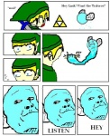 blonde_hair blue_body blue_eyes card_crusher compression_artifacts creepy crush duo fairy fist green_headwear hair humor insect_wings link male master_sword melee_weapon meme navi nintendo nod noseless not_furry ocarina_of_time pointy_ears serious_face surprise sword the_legend_of_zelda triforce tunic unknown_artist video_games weapon wingsRating: SafeScore: 2User: TheVaultDwellerDate: January 13, 2010