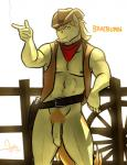 2013 abs anthro balls belt bgn biceps bottomless braeburn_(mlp) clothed clothing cowboy cowboy_hat digital_media_(artwork) equine flaccid friendship_is_magic gun half-dressed handgun hat holster horse humanoid_penis long_foreskin male mammal muscles my_little_pony neckerchief nipples outside pecs penis pistol pubes ranged_weapon solo standing uncut vest weapon  Rating: Explicit Score: 13 User: Pokelova Date: November 22, 2013""