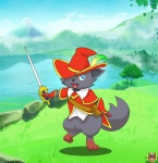 ambiguous_gender anthro blue_eyes bottomless canine clothed clothing cute hat holding_object holding_weapon lake looking_at_viewer mammal melee_weapon nature nintendo open_mouth outside pokémon pokémon_(species) pokémorph pose shotien solo standing sword video_games weapon zorua