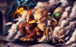 ambiguous_gender arcanine canine cinccino darmanitan digital_media_(artwork) group haychel human male mammal n_(pokémon) nintendo pokémon smoke standard_darmanitan video_games