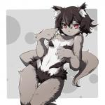 black_hair blush breasts cat feline female fur grey_fur hair kemono mammal red_eyes short_hair solo tomoatsu   Rating: Questionable  Score: 0  User: KemonoLover96  Date: April 26, 2015