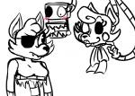 2016 2_heads animatronic anthro blush bow_tie canine duo exposed_endoskeleton eye_patch eyewear female five_nights_at_freddy's five_nights_at_freddy's_2 fox foxy_(fnaf) inkyfrog machine male mammal mangle_(fnaf) multi_head restricted_palette robot simple_background video_games white_background