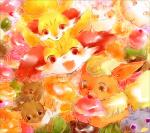 2016 ambiguous_gender blush braixen cake canine cute dufy eating eeveelution espurr fennekin flareon fluffy fluffy_tail food fox group happy holding_food holding_object inner_ear_fluff looking_at_viewer low_res mammal nintendo open_mouth pointy_ears poké_puff pokémon red_ear_fluff red_eyes smile snacks sweets swirlix tongue tongue_out video_gamesRating: SafeScore: 4User: MothershipDate: August 13, 2016
