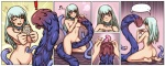 ! ? bow breasts butt comic condom consentacles digital_media_(artwork) duo female green_hair hair happy hi_res holding_condom holding_object human inju_otoko mammal musical_note nipples not_furry pussy ribbons smile solo_focus tentacle_monster tentacle_mouth tentacle_sex tentacles