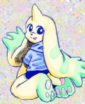 ambiguous_gender anthro clothed clothing digimon digimon_(species) looking_back mammal m_malamute open_mouth paws simple_background smile solo terriermonRating: SafeScore: 2User: EternalLatiasDate: August 17, 2019