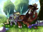 2015 blush brown_hair bucket cowboy_hat derpy_hooves_(mlp) duo equine female friendship_is_magic green_eyes hair hat horse male mammal my_little_pony outside paint pegasus pony tree troubleshoes_(mlp) whitephox wings yellow_eyes  Rating: Safe Score: 3 User: 2DUK Date: July 20, 2015
