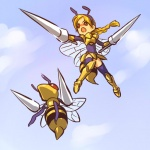 alternate_species arthropod beedrill blonde_hair cloud cloudscape cosplay duo female flying hair hitec human humanized insect insect_wings long_hair mammal mini_me nintendo outside pokémon pokémon_(species) red_eyes sky video_games wings