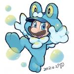 2013 blue_eyes cosplay crossover facial_hair froakie ghost-pepper human looking_at_viewer low_res male mammal mario mario_bros mustache nintendo pokémon solo video_games  Rating: Safe Score: 1 User: Juni221 Date: November 10, 2014