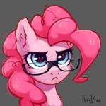 2018 blue_eyes cute earth_pony equine eyelashes eyewear female feral friendship_is_magic frown fur glasses grey_background hair headshot_portrait hi_res horse inner_ear_fluff inowiseei makeup mammal mascara my_little_pony pink_hair pinkie_pie_(mlp) pony portrait reaction_image serious serious_face signature simple_background solo