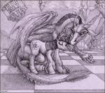 discord_(mlp) draconequus duo equine female friendship_is_magic fur hair horn male mammal monochrome my_little_pony traditional_media_(artwork) twilight_sparkle_(mlp) unicorn wings yinepu   Rating: Safe  Score: 9  User: furry_researcher  Date: March 02, 2014