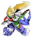 blue_hair bodysuit canine fox fox_mccloud hair krystal mammal nintendo skinsuit star_fox undo unknown_artist video_games   Rating: Safe  Score: 2  User: Cane751  Date: February 21, 2014
