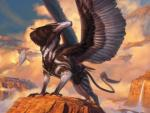 ambiguous_gender avian beak claws cloud cloudscape feathered_wings feathers feral gryphon harness kiera_yanner landscape magic_the_gathering male official_art pouch quadruped rock signature sky solo spread_wings standing traditional_media_(artwork) waterfall wings  Rating: Safe Score: 9 User: Circeus Date: September 22, 2015