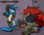 ancient_chinese_tickle_torture balls bdsm blindfold bondage bottomless bound clothed clothing erection half-dressed kinglom knot lucario male nintendo penis pokémon shackles tickling video_games zoroark   Rating: Explicit  Score: 13  User: DragonRanger  Date: June 10, 2012