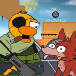 anthro avian bird canine chica_(fnaf) cloud day duo english_text female five_nights_at_freddy's fox foxy_(fnaf) gud gun konami low_res male mammal metal_gear outside ranged_weapon sky smoking solid_snake submachine_gun text video_games weapon