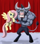 2012 abs angry anthro blue_eyes cutie_mark duo equine female feral fluttershy_(mlp) friendship_is_magic hair hooves horn horse iron_will_(mlp) john_joseco looking_at_viewer male mammal minotaur muscles my_little_pony pegasus pink_hair pony wings   Rating: Safe  Score: 9  User: Robinebra  Date: March 22, 2012