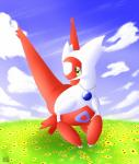 2014 ambiguous_gender anthro claws cloud flower grass hi_res jewelry latiar latias legendary_pokémon necklace nintendo nude outside plant pokémon red_skin sky solo video_games white_skin yellow_eyes  Rating: Safe Score: 1 User: GameManiac Date: January 28, 2016