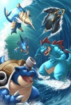 blastoise empoleon feraligatr kuroi-tsuki nintendo pokémon samurott sea surfing swampert video_games water wave   Rating: Safe  Score: 9  User: AnacondaRifle  Date: May 01, 2011