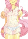 2013 anthro anthrofied blush breasts clothing cutie_mark equine feathered_wings feathers female fluttershy_(mlp) friendship_is_magic hair hi_res lonelycross mammal my_little_pony navel panties pegasus pink_hair shirt small_breasts solo thigh_gap torso_shot translucent transparent_clothing underwear wet wings yellow_feathers
