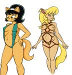 anthro bikini black_hair blonde_hair bound breasts callie_briggs cat clothing duo feline female frown green_eyes hair hairband hand_on_hip kitty_katswell mammal multi_breast navel nickelodeon nipple_bulge pregnant rope_bondage simple_background sling_bikini smile swat_kats swimsuit t.u.f.f._puppy unknown_artist  Rating: Explicit Score: 1 User: Nuji Date: April 28, 2016