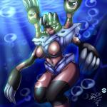 2014 angry anthro arthropod barbaracle barnacle breasts claws crustacean female looking_at_viewer marine mnxenx001 navel nintendo nipples nude pokémon pokémon_(species) sharp_claws solo squint standing underwater video_games water