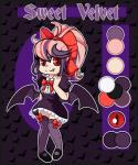 bat_wings clothing dress fan_character female hair human humanized legwear mammal mary_janes model_sheet multicolored_hair red_eyes skirt smile socks solo sweet_velvet vampire wings xwhitedreamsx  Rating: Safe Score: 2 User: MyNameIsMarty Date: October 05, 2015