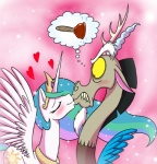 <3 blush crown cutie_mark discord_(mlp) draconequus equine eyes_closed female feral friendship_is_magic hair horn jewelry kissing male mammal mickeymonster multicolored_hair my_little_pony necklace plunger princess_celestia_(mlp) red_eyes sparkles winged_unicorn wings  Rating: Questionable Score: 7 User: 2DUK Date: August 26, 2012
