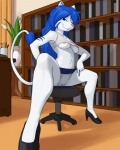 ajin anthro areola blue_eyes blue_hair book breasts canine cat chair clothing digitigrade feline female fox foxcat fur hair high_heels long_hair looking_at_viewer mammal nipples office_chair plant redaean reddi shirt skirt solo sports_bra tank_top under_boob upskirt vaerinn whiskers white_fur  Rating: Explicit Score: 26 User: TFC0234 Date: February 19, 2011