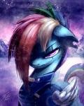2015 armor blue_feathers cybernetics cyborg equine feathered_wings feathers female friendship_is_magic hair machine mammal multicolored_hair my_little_pony pegasus portrait purple_eyes rainbow_dash_(mlp) rainbow_hair scar snow snowing solo tsitra360 wings