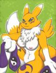 2014 anthro boxice breasts canine digimon female fox gloves happy long_ears looking_at_viewer mammal navel nipples nude renamon sitting smile solo   Rating: Questionable  Score: 9  User: forkU  Date: March 28, 2014