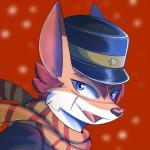 anthro blue_eyes brown_fur bust_portrait canid canine clothed clothing digital_media_(artwork) fox fully_clothed fur golden_kamuy hair hat kitsunekotaro looking_at_viewer male mammal open_mouth portrait red_background red_hair scar scarf side_view simple_background smile solo sugimoto_saichi video_games white_fur