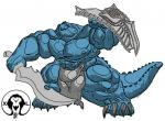 abs anthro big_bulge big_claws big_pecs blue_scales bulge claws clothing crocodile crocodilian huge_muscles hyper hyper_muscles loincloth melee_weapon muscular nipples pecs pose reptile scales scalie shield solo sword thick_arms thick_legs thick_thighs weapon xatanlion