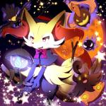 ambiguous_gender avian bird blush braixen canine clothed clothing cosplay fangs feathers fire flying fox fur gastly ghost glowing gourgeist group halloween hat holidays inner_ear_fluff lampent looking_at_viewer magic_user mammal moon murkrow night nintendo open_mouth outside pokémon pumpkaboo red_eyes red_moon renge-kemo smile spirit star stick teeth tongue video_games wings witch yellow_eyes yellow_fur  Rating: Safe Score: 7 User: N7 Date: November 01, 2015