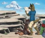 anthro backpack balls canine canyon cloud detailed_background digitigraded dog duo fox german_shepherd male male/male mammal nude outside penis penis_tip sheath sky stick   Rating: Explicit  Score: 14  User: slyroon  Date: October 13, 2014