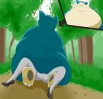 absurd_res big_butt butt clothing cowgirl_(disambiguation) duo female first_person_view footwear forest girly hi_res high_heels huge_butt low-angle_view male mcnasty nintendo obese overweight pokémon public sex shoes size_difference smaller_version_at_source snorlax toy_(mcnasty) tree video_games