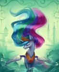 2018 building castle crescent_moon crown detailed_background equine eyelashes eyes_closed feathered_wings feathers female friendship_is_magic full-length_portrait hair hi_res horn long_hair luciferamon mammal mist moon multicolored_hair my_little_pony nude portrait princess_celestia_(mlp) rainbow_hair smile solo sparkles sun winged_unicorn wings