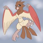 anthro anthrofied avian beak bird black_eyes breasts brown_fur chest_tuft claws feathered_wings feathers featureless_breasts female flying fur head_tuft hi_res looking_at_viewer navel nintendo non-mammal_breasts nude open_mouth pokémon pokémon_(species) posexe pussy red_fur simple_background small_breasts solo spearow spread_legs spreading three_tone_fur tuft video_games white_fur wings