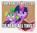 book cutie_mark dialogue dragon english_text equine female friendship_is_magic green_eyes horn image_macro low_res magic male mammal my_little_pony open_mouth purple_body purple_eyes reaction_image scalie spike_(mlp) text tl;dr twilight_sparkle_(mlp) unicorn   Rating: Safe  Score: 12  User: DarkSonic  Date: February 17, 2014