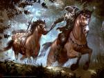 equine faceless_male facial_hair feral forest goatee group hat hooves horse human leaping lius_lasahido low-angle_view magic_the_gathering male mammal official_art quadruped reins riding running saddle tree weapon  Rating: Safe Score: 1 User: Circeus Date: May 02, 2016