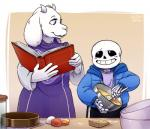 akusuru bag baking bone book caprine clothing duo egg female goat horn jacket male mammal pants robe sans_(undertale) skeleton smile toriel undertale video_games  Rating: Safe Score: 2 User: Burgerpants Date: November 25, 2015