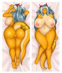aisyah_zaskia_harnny anthro big_breasts big_butt breasts butt dakimakura_design dragon female hair harnny horn huge_breasts looking_at_viewer nipples pussy slightly_chubby smile solo thick_thighs voluptuous wide_hips