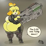 1:1 animal_crossing anthro armor artist_name bendacriss bfg big_breasts big_butt bottomless breasts butt butt_focus canid canine canis clothed clothing domestic_dog doom_(series) english_text female footwear gun hi_res high_heels huge_butt huge_hips huge_thighs id_software isabelle_(animal_crossing) mammal nintendo praetor_suit profanity ranged_weapon shih_tzu shoes signature simple_background solo text thick_thighs toy_dog unconvincing_armor video_games weapon wide_hips