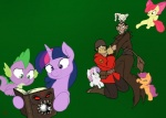 apple_bloom_(mlp) bite bombinomicon book cub cutie_mark_crusaders_(mlp) dragon equine female feral fight friendship_is_magic green_background group horn horse human male mammal merasmus my_little_pony pegasus pony scalie scootaloo_(mlp) simple_background soldier_(team_fortress_2) spike_(mlp) strangling sweetie_belle_(mlp) team_fortress_2 theshadowdude1031 twilight_sparkle_(mlp) unicorn video_games wings young  Rating: Safe Score: 5 User: Kholchev Date: January 08, 2013