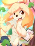 2015 animal_crossing anthro bell breasts canine cleavage clothed clothing cute dog eyelashes female hi_res isabelle_(animal_crossing) mammal nintendo nipples rainbowscreen shirt skirt solo video_games  Rating: Questionable Score: 53 User: Numeroth Date: June 02, 2015""