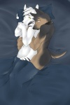 2009 anthro bed bed_sheet black_fur black_markings black_nose brown_fur butt canine collar cuddling doberman dog duo embrace fur hair looking_at_viewer male male/male mammal markings mystikfox61 nude orange_eyes pillow pillow_grab possessive protective raised_hands short_tail spooning striped_fur stripes tan_fur white_fur white_hair yellow_eyes  Rating: Questionable Score: 34 User: Dester Date: August 19, 2013
