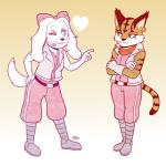 <3 anthro black_nose boots bow canine clothing duo ear_piercing fay_spaniel feline female footwear jennyjams long_ears mammal miyu_lynx nintendo one_eye_closed piercing smile star_fox video_games wink