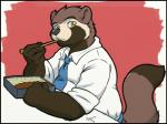 anthro chopsticks chubby clothing digital_media_(artwork) eating fluffy_tail itsuki_(housepets!) looking_at_viewer male mammal necktie nogitsunegabriel rice shirt signature sitting solo table tanuki   Rating: Safe  Score: 0  User: Circeus  Date: April 28, 2015