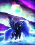 aurora_borealis bedroom_eyes blue_fur blue_hair butt cutie_mark equine feathers female feral friendship_is_magic fshydale fur hair half-closed_eyes hooves horn long_hair looking_at_viewer looking_back mammal moon my_little_pony princess_luna_(mlp) raised_tail sky smile solo star teal_eyes water winged_unicorn wings  Rating: Safe Score: 11 User: remie Date: May 21, 2014""